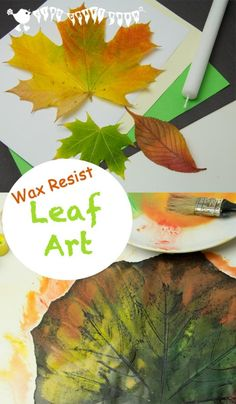 combine leaf rubbing with leaf painting and hence this Wax Resist Leaf Painting art project for kids was born!