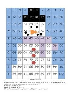 100 Chart - Snowman free