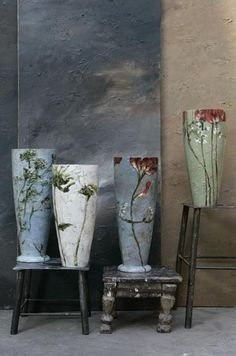 Huge pots decorated with hand painted flowers
