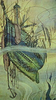***    Vintage Ship Illustration Fairy Tale W. Heath by CastawaysHall, $12.00