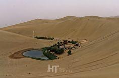 The Crescent Moon lake near Dunhuang, gansu, China.