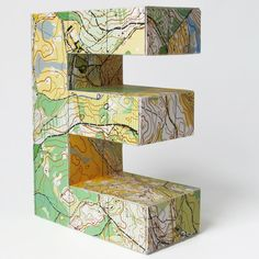 Medium map letter made from orienteering maps by littlewhitedog, €30.00
