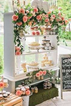 Edwardian England Wedding Ideas dessert display - great use of a sandwich sign on the right and a tall cabinet instead of a table. Dessert Party, Buffet Dessert, Dessert Display Table, Party Desserts, Dessert Ideas, Dessert Recipes, Fruit Decorations, Decoration Table, Wedding Decorations