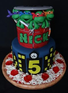 This cake was made for a friend's son. They are the owners of a local Pizza Shop. They came to me with a picture of a cake that they wanted me to make and I was so excited because it was Toni from White Crafty Cakes design. It is one of my...