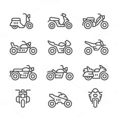 motorcycle drawing Set line icons of motorcycles Broderie Simple, T-shirt Broderie, Motorcycle Icon, Motorcycle Tattoos, Business Illustration, Pencil Illustration, Icon Design, Logo Design, Sketch Note
