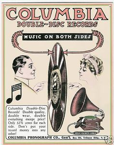 1908 advertisement for a double-sided record disc.