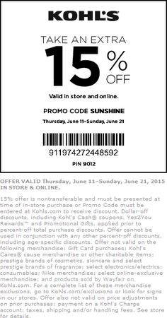 Pinned June 11th: 15% off at #Kohls or online via promo code SUNSHINE #coupon via The #Coupons App