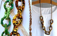 Fabric Chain Necklace - what to do with beautiful scraps I inherited recently!