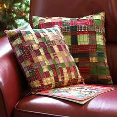 Christmas cushions! Put out just for the season. Could do this idea with christmassy ribbon.