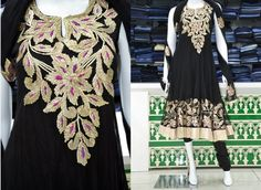 Celebrating elegance: A black churidhar with fine embroidery from Pothys. Price: Rs 7915.