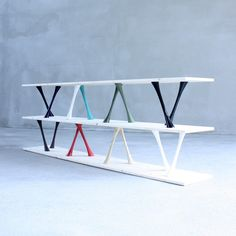 'Romane' wooden and ceramic shelf by French designer Clément Brazille.