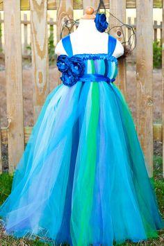 Peacock Tutu Dress Flower Girl Tutu Dress by BellaTutusDesigns, $65.00