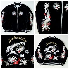 Japanese Vintage Black Dragon Ryu Tattoo Yakuza Yokosuka Fuji Velveteen Velvet Embroidery Embroidered Souvenir Sukajan Jacket - Japan Lover Me Store