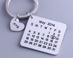 This Calendar Keyring hand stamped with the calendar month of your choice with your special day marked with a heart. It was a wonderful way to