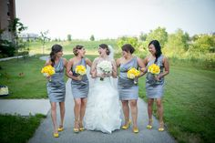 Yellow bridesmaid bouquets add such a pop to gray dresses! @BrittanyStudios