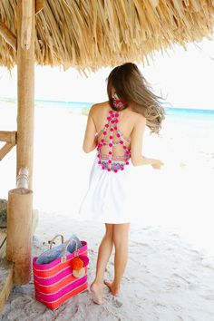 love the back of this cover-up ... pom poms!
