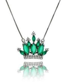 comprar colar coroa com zirconias esmeralda e banho de rodio negro semi joias finas