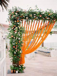 Four Seasons Biltmore resort wedding, marigold flower curtain Desi Wedding Decor, Wedding Stage Decorations, Wedding Mandap, Flower Decorations, Wedding Colors, Wedding Ideas, Wedding Receptions, Wedding Table, Fall Wedding