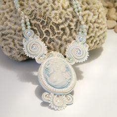 Soutache Cameo necklace cream light blue par daniellart sur Etsy, $165.00