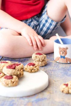 Healthy Thumbprint cookies perfect for baby led weaning or for kids. Made with 5 healthy ingredients they are healthy enough to serve for breakfast! Lunchbox friendly.