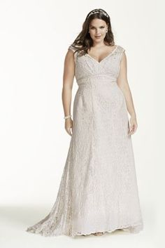 Imagine walking down the aisle wearing this gorgeous trumpet weddiing dress! Elegantly crafted with allover lace, this gown features a deep v neckline, soft straps and empire waist. Select this dress and you'll have beauty at its best.   David's Bridal Collection - Plus Size.  Also available in Regular, Petite, Extra Length and Plus Size Extra Length. Check your local stores for availability.  Chapel train. Fully lined. Back zipper. Imported. Dry clean only.  Special Value! Final price