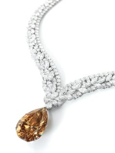 100.02-carat Pear-Shaped Fancy Yellow-Brown Diamond Pendant Necklace, Diamond Necklace Signed Cartier