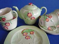 Carlton Ware Green 'Primula' Tea for Two Set c1939