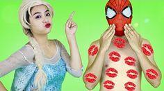 Everyone Kisses Spiderman! w/ Frozen Elsa, Maleficent, Pocahontas, Spidergirl & Joker in Real Life - YouTube