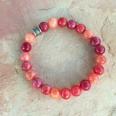 Red Ombre Quartzite Bracelet by TheGypsyRoseBoutique on Etsy