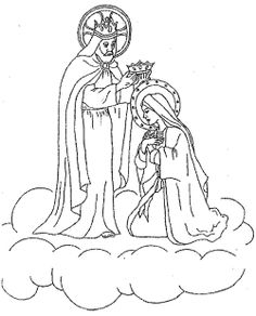 Fifth Glorious Mystery TheCoronation Of Mary Mysteries Patch Ideas Queen HeavenEarth GoogleCatholicMother MaryColoring SheetsDrawingGirl