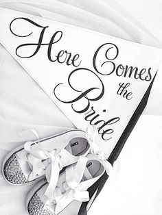 Here comes the bride flower girl flag and flower girl converse with diamontes