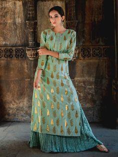 "Search Results for ""chanderi kurta"" Fancy Blouse Designs, Dress Neck Designs, Indian Skirt, Indian Dresses, Kurta Skirt, Kurta Lehenga, Sharara, Anarkali Suits, Saree"