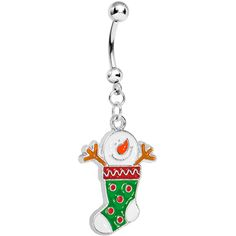 Stainless Steel Smiling Christmas Snowman Stocking Charm Dangle Belly Ring #piercing #bodycandy #holiday #gift $6.99
