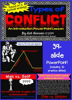 Types of Conflict PowerPoint:  Man vs. Man, Man vs. Nature, Man vs. Self, Man vs. Society.  Lots of practice paragraphs!