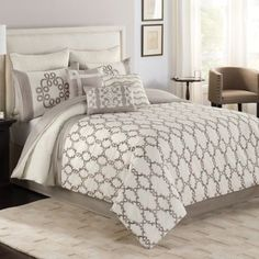 Ashlyn Full Comforter Set Ivory/grey