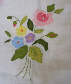 Vintage Floral Stitched Tablecloths w by JewelsOfHighElegance, $12.50
