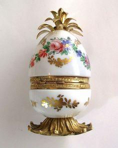 French Opalescent Opaline Jewelry Casket Box Ormolu Bronze  Figural Egg Noirot