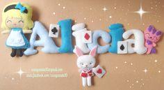Alice in wonderland Baby Name Banners, Felt Name Banner, Fabric Letters, Felt Letters, Baby Crafts, Felt Crafts, Felt Wreath, Felt Embroidery, Felt Baby