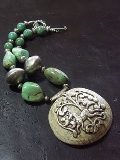 indigodreams:    an antique tibetan sacred chank shell tibetan turquoise beads beads from the nomadic african touareg tribe from the treasure chest collection by katieO jewelry