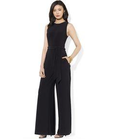 Lauren Ralph Lauren Sleeveless Wide-Leg Jumpsuit - Jumpsuits & Rompers - Women - Macy's