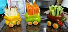 Veggie Train: Made With Peppers...Cut & Hollow Out Bell Peppers As In Picture...For Wheels, Use Carrot & Cucumber Slices (Hold In Place With Toothpicks)...NOTE: No Link...