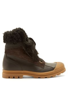 Parker shearling-trimmed leather boots | Chloé | MATCHESFASHION.COM