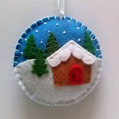 Felt christmas ornament - Christmas village snow globe ornament/ wool blend felt This listing is for 1 ornament Size about 8 cm Material wool blend felt Handmade from felt with high precision and great care. Please note that ornaments are decorated on one side only. Other side is solid