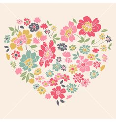 Romantic card with floral heart vector - by SvitDen on VectorStock®