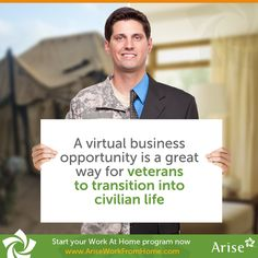For all the veterans, transitioning into civilian life, #workfromhome Learn About Arise Arise: http://www.ariseworkfromhome.com/military-families #Veteran #WAHM #SAHM #MilitarySpouses #militaryfamilies