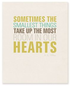"""Sometimes the smallest things take up the most room in our hearts."""