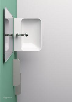 Nueva colección Green de Catalano. Colección de siete lavabos caracterizados por una superficie mórbida, con bordes muy finos. Puede ser utilizada como lavabo mural, sobre encimera y con mueble. #diseño #baño #catalano #cersaie