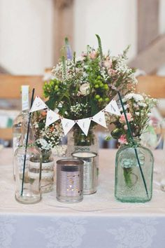 DIY decor: Reveal your wedding table numbers with mini-bunting details.