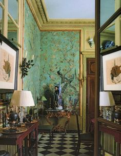 The Private World of Yves Saint Laurent and Pierre Berge- This is my all time favorite coffee table book.right into the homes of Yves Saint Laurent and Pierre Berge. Chinoiserie Wallpaper, Of Wallpaper, Chinese Wallpaper, Interior Wallpaper, Beautiful Wallpaper, Paris Apartments, Apartments For Sale, Parisian Apartment, Apartment View