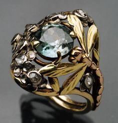 Art Nouveau - Paris - Bague en or - Aigue-marine et Diamants - Jean Ibels - 1910